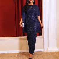 Party Dinner Long Dresses Bodycon 2019 Elegant Blue Lady Robe Summer Big Size Women Sequins Mesh African Female Maxi Dress
