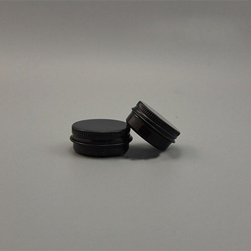 50 pcs 10g 15g preto frasco de aluminio vazio pequeno labio oleo cosmeticos creme para os