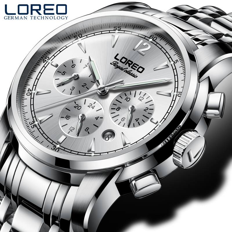 LOREO genuine automatic self-wind hollow luminous waterproof scratch resistant sapphire glass business fashion leisure men watch