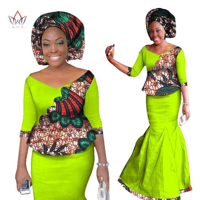 2017 sistemas de la falda para mujer falda set mujeres dashiki africano nueva elegante 2 unidades de juegos de impresión de cera top + skirt + pañuelo WY1336