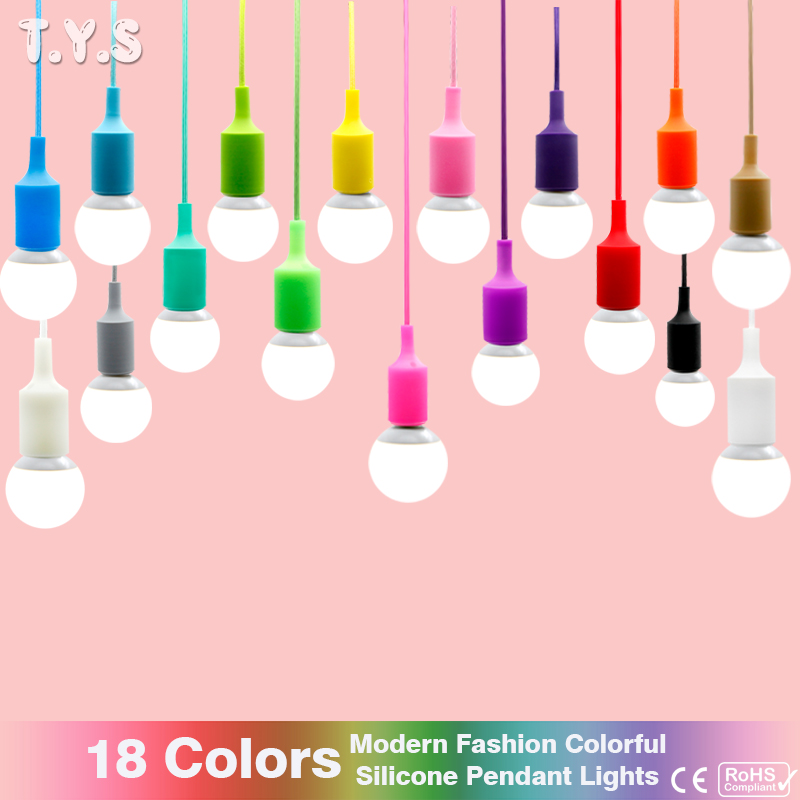 Modern Pendant ceiling Lamp shade Colorful Silicone LED Pendant Light fixture bulb E27 Design home lighting wedding decoration 9lights e27 diy ceiling spider pendant lamp shade light antique classic adjustable retro chandelier dining home lighting fixture