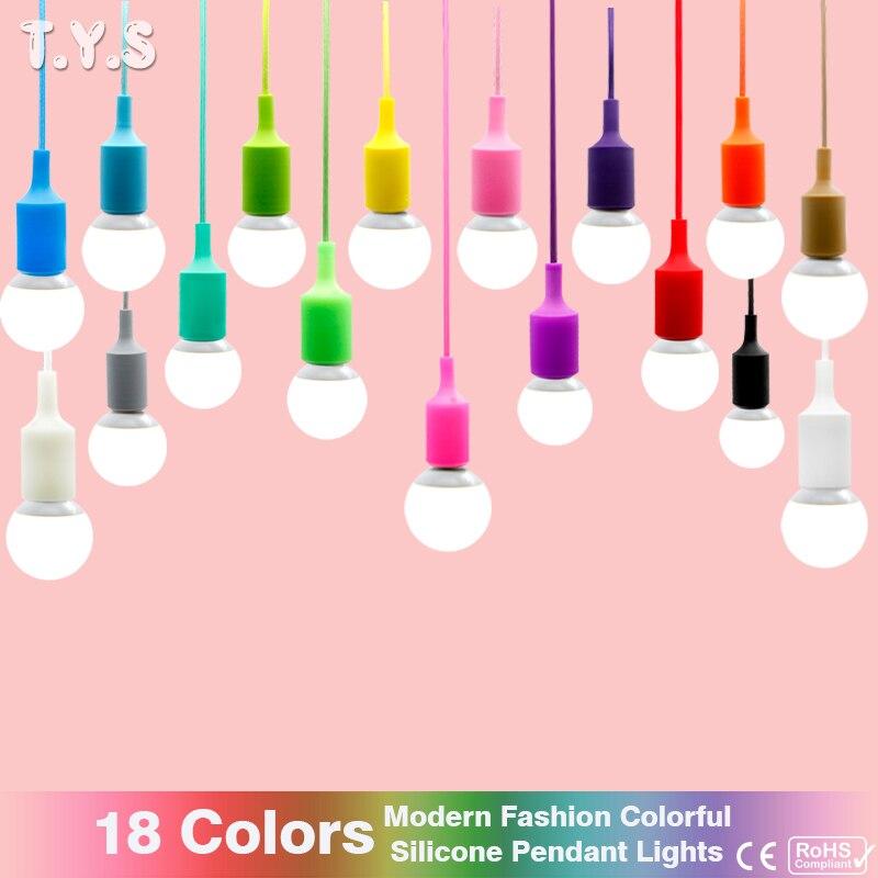 Modern Pendant ceiling Lamp shade Colorful Silicone <font><b>LED</b></font> Pendant <font><b>Light</b></font> fixture bulb E27 Design home lighting wedding <font><b>decoration</b></font>