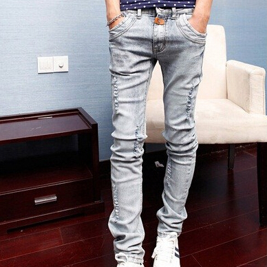 Free shipping new spring and summer fashion men's denim jeans Slim wear white pantyhose feet