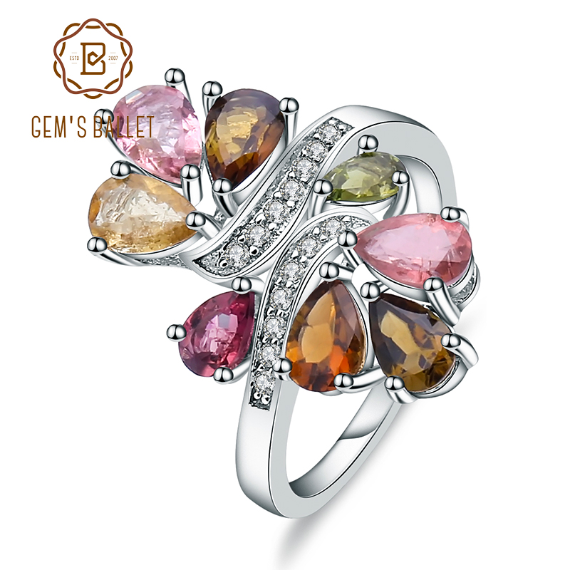 Gem's Ballet Natural Tourmaline 925-sterling-silver Rings For Women Trendy Romantic Flower Wedding Engagement Jewelry Accessorie