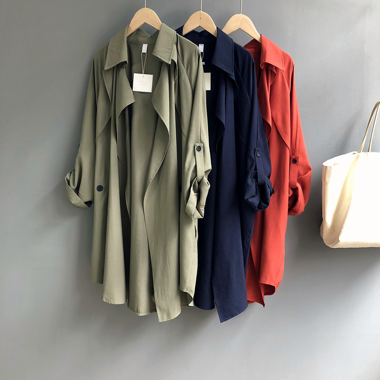 Chic style collegue spring   trench   coats Plus size Female Irregular Leisure style overcoats