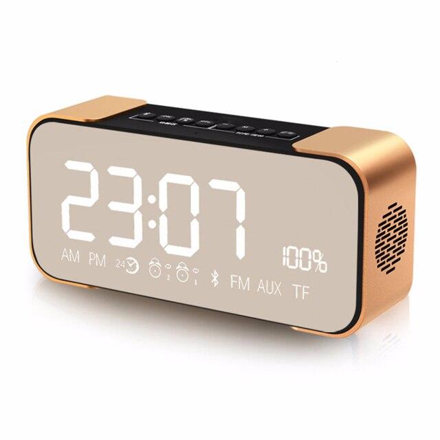 ec4ad36a06e Digital Alarm Clock Radio Bluetooth Speaker Wireless Stereo Metal Portable  Desk Clock Music Soundbox Time Display Table Clocks