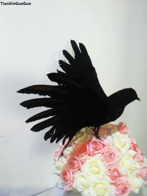 Halloween decoration,large 30x45cm black crow spreading wings bird hard model foam&feathers crow bird prop,craft s1279