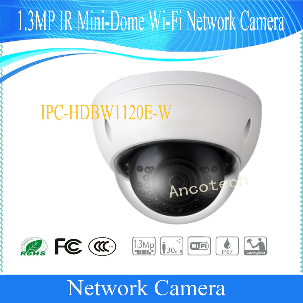 Free Shipping DAHUA 1.3MP WIFI Network Vandalproof IR Mini Dome Camera with Fixed Lens IP67 without Logo IPC-HDBW1120E-W free shipping dahua cctv camera 4k 8mp wdr ir mini bullet network camera ip67 with poe without logo ipc hfw4831e se