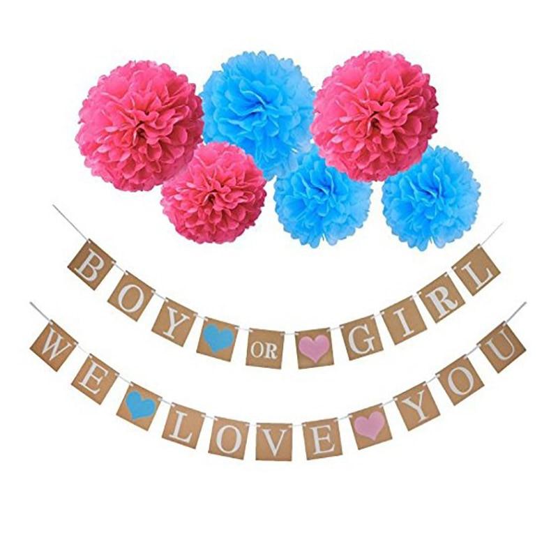 HAOCHU 1 комплект 3 метра мальчик или девочка мы любим вас гирлянды-флажки Детские бирки веревки буквы Милая Бумага фотография Backgrond реквизит декор - Цвет: Blue and pink