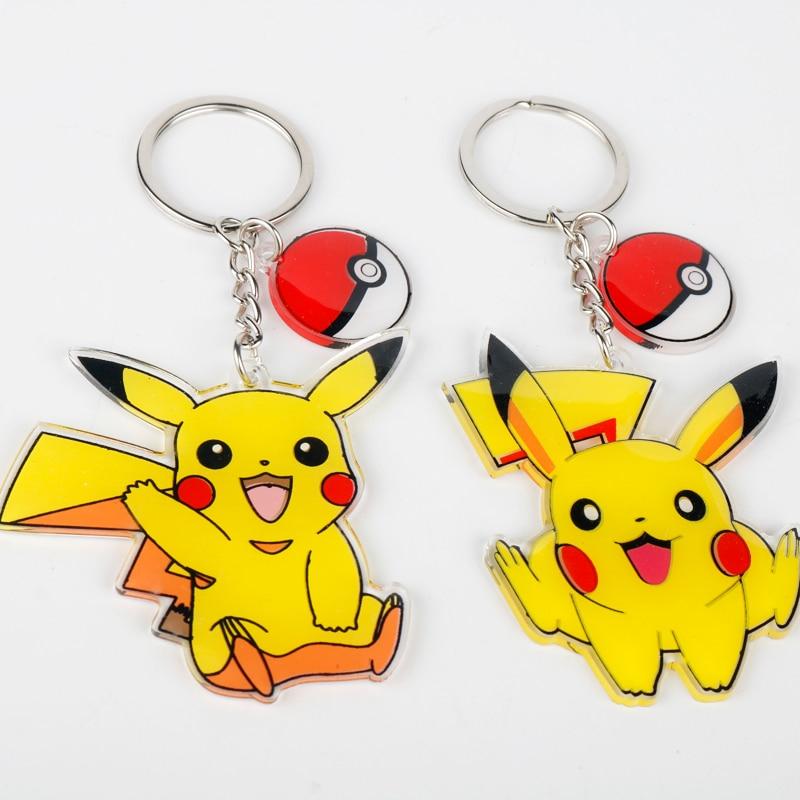 New Hot Anime Pokemon Key Chain Pikachu Funny Novelty Keyring Cute Cartoon Fashion Pendant Necklace Jewelry Metal Keychain Gift