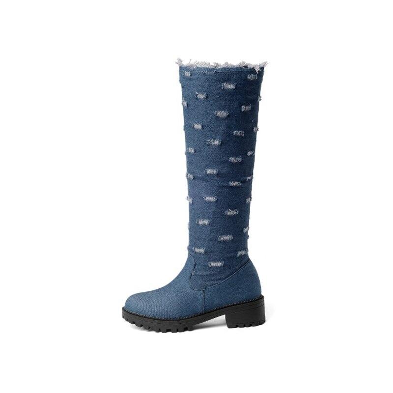 BLXQPYT супер большой размер 34–52 ткани стрейч джинсовые сапоги до колена; круглый носок Для женщин; сезон осень-зима; обувь на среднем каблуке; женская обувь Y76 - Цвет: Dark blue