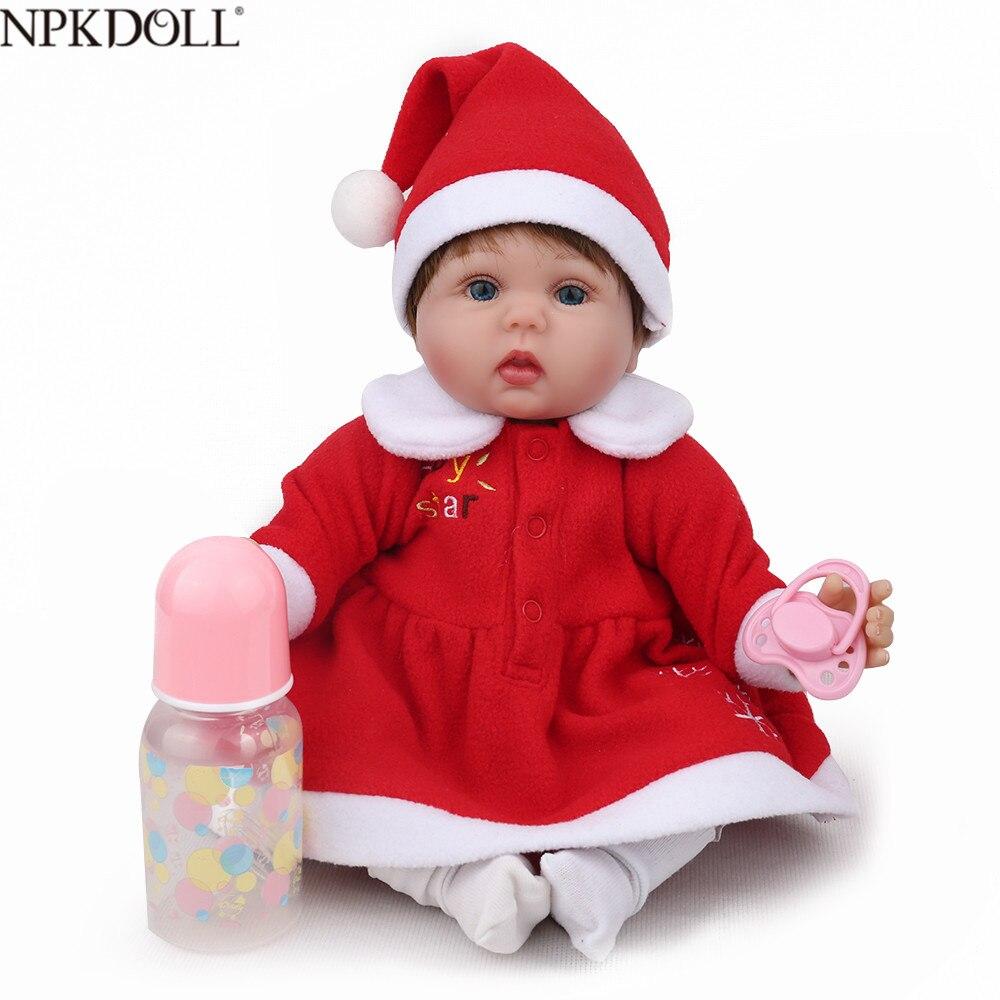 NPKDOLL Reborn bébé poupée en Silicone souple 18 pouces rose filles en peluche jouets enfants Playmate anniversaire noël cadeau Bebe Reborn