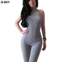 Q-SKY Herbst Frauen Stricken Baumwolle Einteiliges Hosen Voller Länge Halter Top Sexy Leggings Damenmode Abend Overalls hosen
