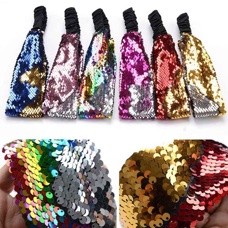 Magia Reversibile Due-Faccia Paillettes Fascia Bambino Adulto Contrasto Arcobaleno Colorato Glitter Hairband Squame di Pesce Partito a Livello Turbante