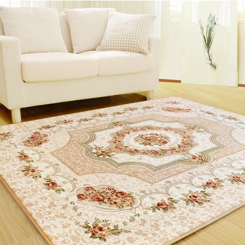 LIU style européen simple moderne tapis chambre tapis salon thé table canapé sol tapis cuisine fleur doux tapis flanelle