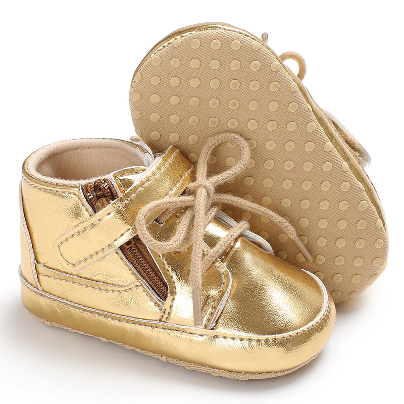 New Arrival Gold Fashion PU leather Baby Moccasins Shoes Infants Baby Toddler Shoes Non-slip Newborn Crib