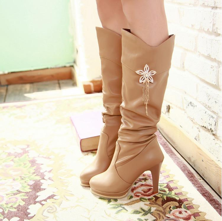 VAMOLASC New Women Autumn Winter Warm Leather Knee High Boots Elegant Crystal Flowers Thin High Heel Boots Platform Women Shoes vamolasc new women spring autumn lace over the knee boots sexy thin high heel boots elegant platform women shoes plus size 34 42