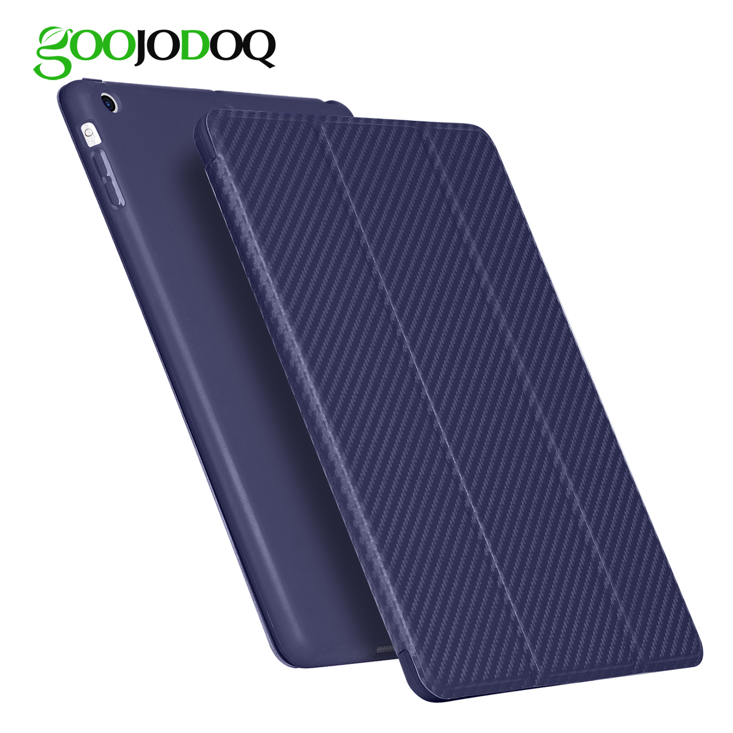 Case for iPad Air 2, GOOJODOQ Silicone Back Case for Apple iPad Air 2 iPad 6 PU Leather Smart Cover A1566 A1567 Auto Sleep/Wake