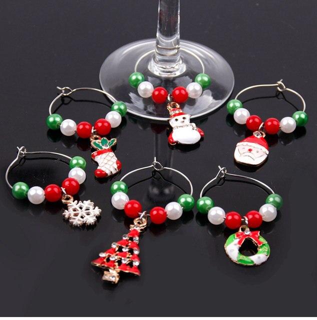 Merry Christmas Decor For Home 2019 Christmas Bottle Cover Wine Glass Charm Christmas Gift Decor Noel 2019 New Year Gift 2020 33