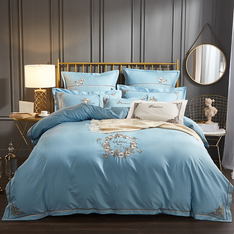 Bamboo Cotton Luxury Classic Bedding set inhibit bacteria Embroidery Duvet Cover set Bedsheet Pillowcases Queen King size 4pcsBamboo Cotton Luxury Classic Bedding set inhibit bacteria Embroidery Duvet Cover set Bedsheet Pillowcases Queen King size 4pcs