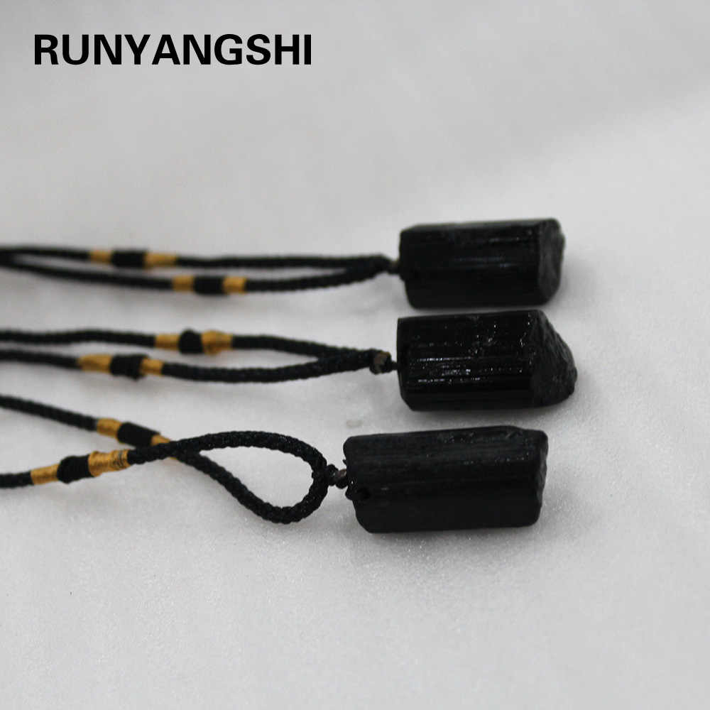 Natural crystal stone Black tourmaline pendent Jet stone Necklace Original Stone Ore Specimen Fashion Jewelry Accessories Gift