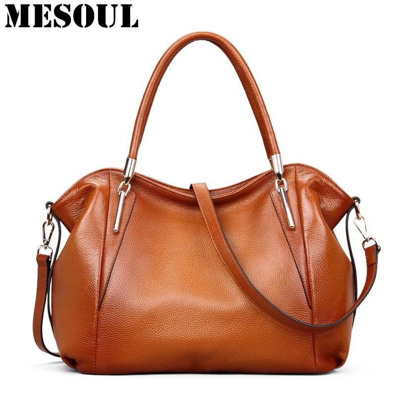 Vintage ženske torbe Soft prave kože Tote Crossbody torba visoke - Torbe