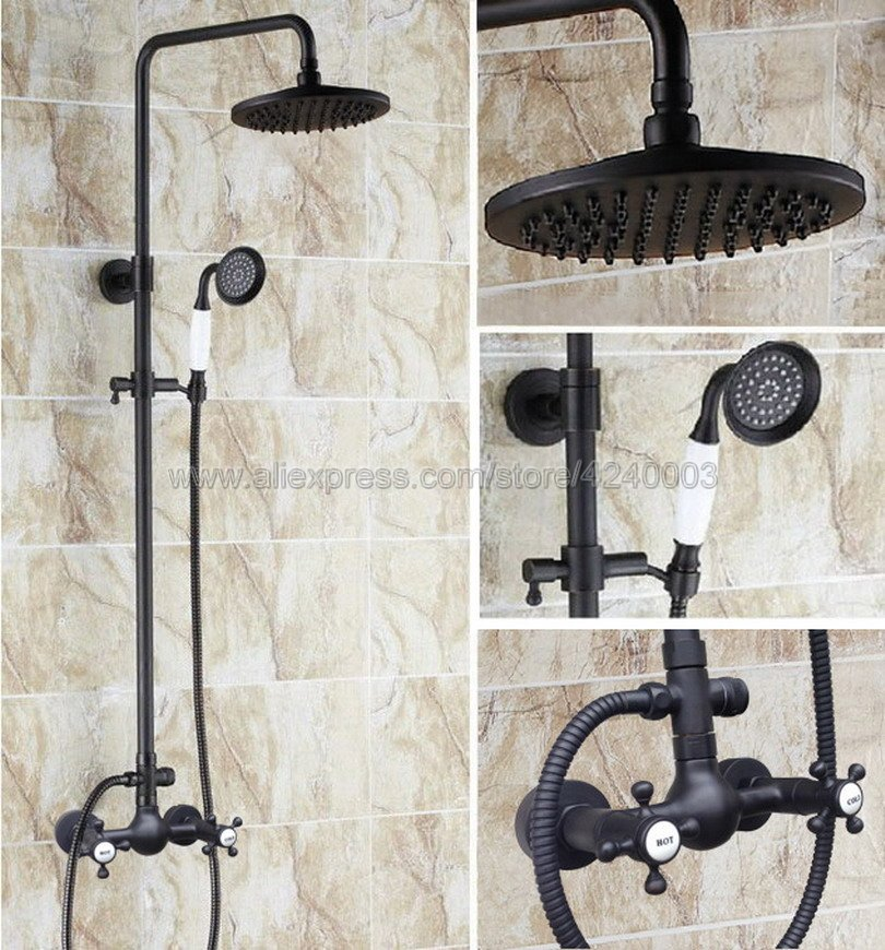 Black Oil Rubbed Bronze Bathroom Shower Faucet 8 Rainfall Shower Head Double Handles Mixer Tap with Hand Shower Khg494
