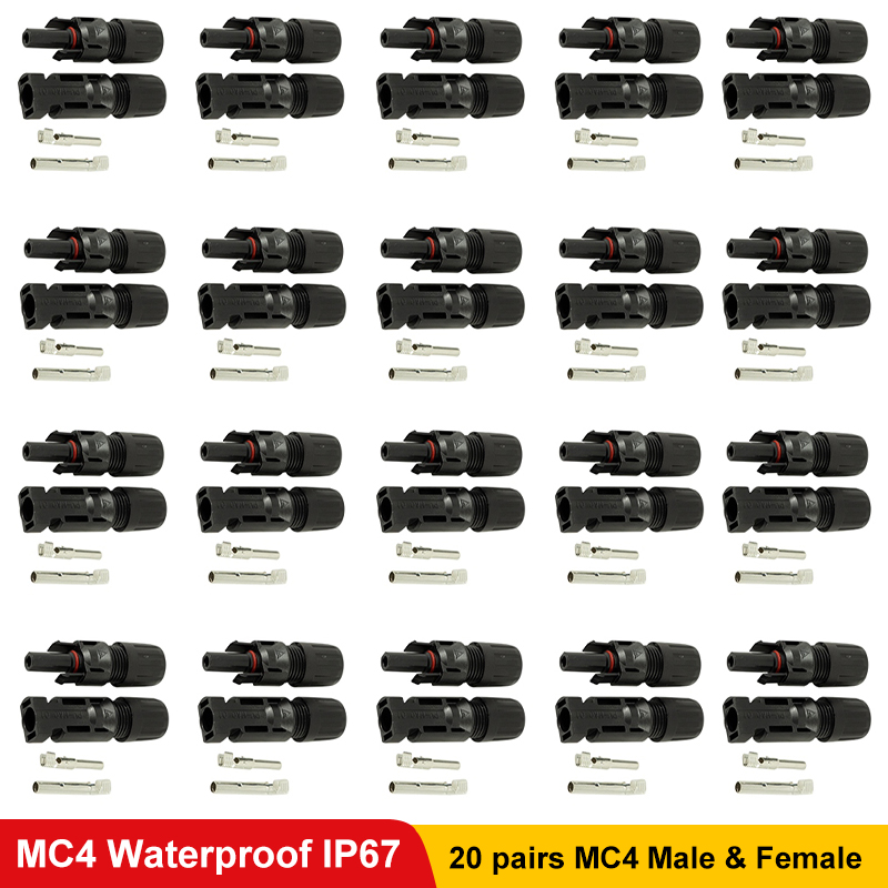 PowMr 20 Pairs MC4 Solar Connector Male and Female Solar Panel PV Cable Cross Sections 2.5mm2~6.0mm2 IP67 Wateproof EffectPowMr 20 Pairs MC4 Solar Connector Male and Female Solar Panel PV Cable Cross Sections 2.5mm2~6.0mm2 IP67 Wateproof Effect
