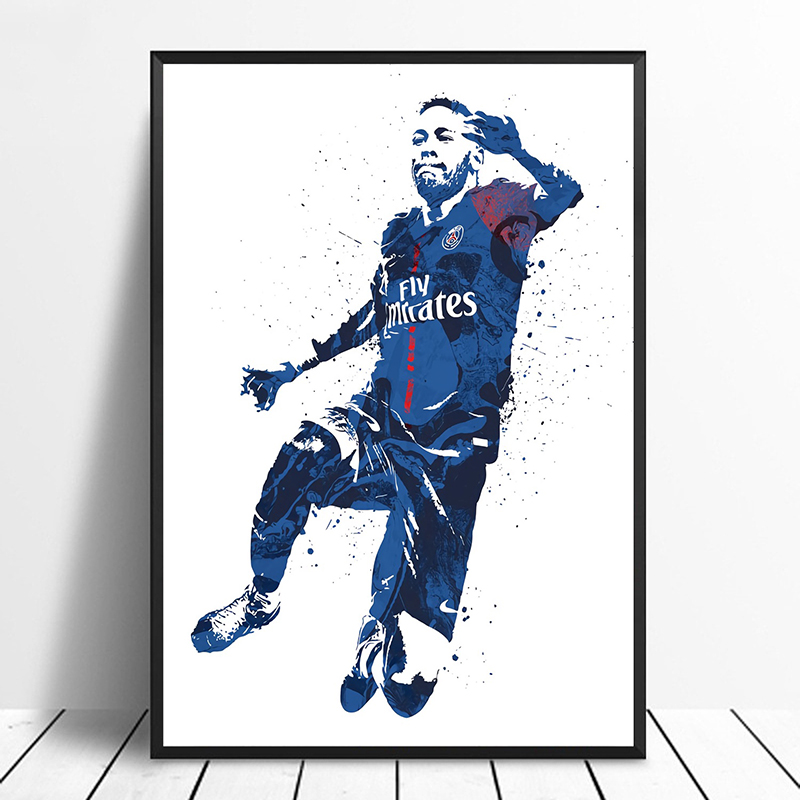 Brazil Football Team Neymar Poster Wall Art Print Card or Canvas