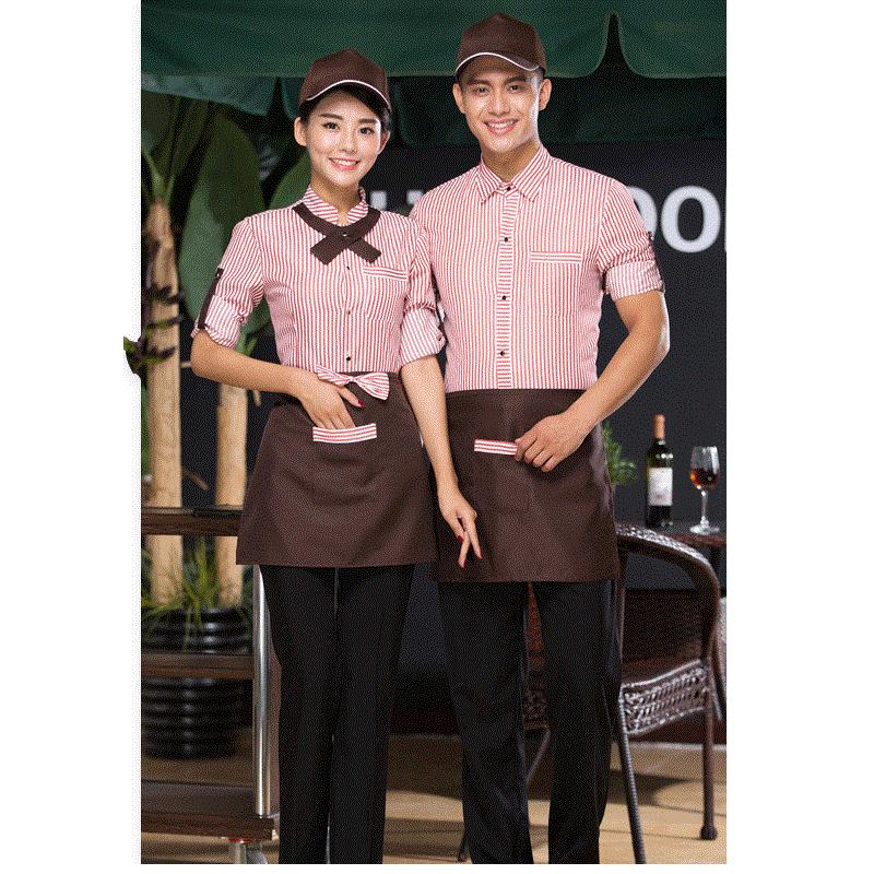 (10 Set-hoed & Shirt & Schort & Tie) Restaurant Ober Lange Mouwen Kleding De Barman Overalls Koffie Winkel Attendant Overalls Uniform