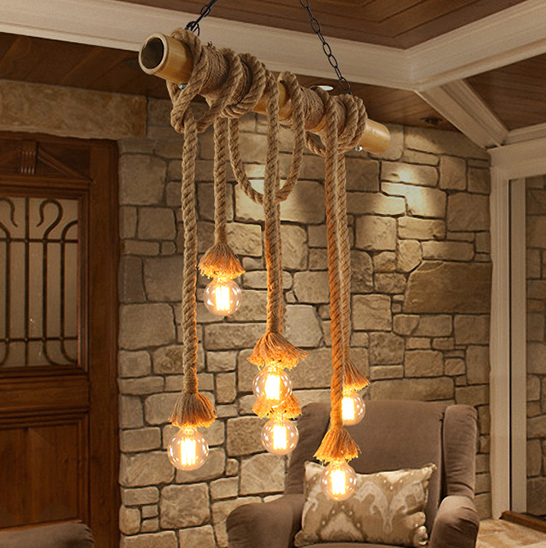 Pastoral Country Bamboo Hemp Rope Pendant Lights Fixture
