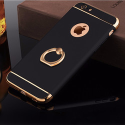 Support de bague en aluminium de luxe téléphone étuis pour iphone 7 6 6S Plus 7Plus 5 S 5 S SE 360 Protection complète amovible 3 en 1