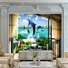Free Shipping 3D Space Expansion Balcony Sea View Dolphin Water TV Background Wall Mural Custom Lobby