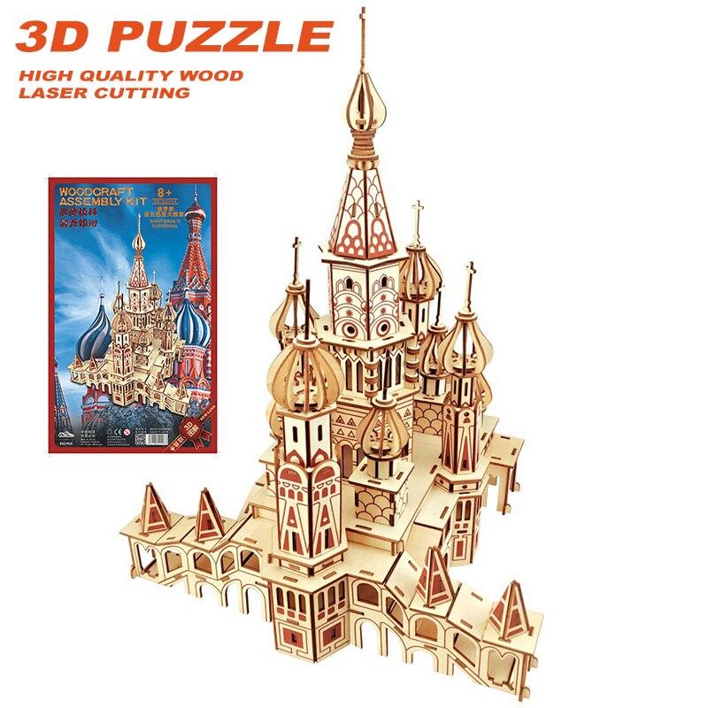 Bricolage créatif découpe Laser 3D cathédrale Puzzles en bois apprentissage jouet éducatif jeu assemblage jouets pour enfants puzzle enfants jouet