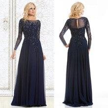 Neue Ankunft Abendkleider Lange 2015 Marineblau Spitze kristalle Mutter Der Braut Kleid Langhülse Partyabend kleider