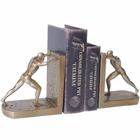 1 Pair/Pack Resin Antique Human Pushing Bookend for School Stationery & Office Supply