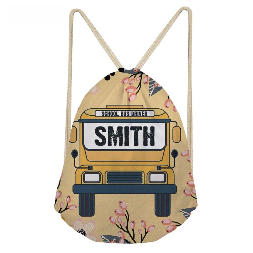 ThiKin School Bus Print Teenager Girl Travel Mini Drawstring Bag Brand Design String Backpack Shoulder Bag Sack Storage Bag