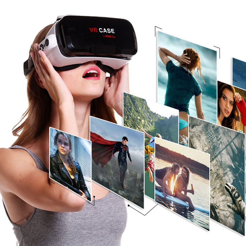 3D VR Glasses 130 Degree Wide Angel Viewing headset Ultra-clear Coated Len Virtual Reality VR Box Case for 4.7-6Inch Smartphone