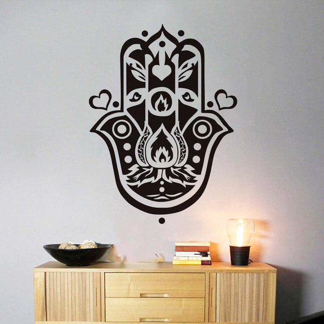 Dctop Hand Of Fatima Diy Wall Sticker For Living Room Arabic Religious Believe Hearts Decals