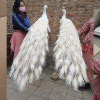 Большой 150 см Моделирование Птица белые перья павлина жесткий модель любит Павлин одна пара домашний сад, вечерние украшения подарок s2237