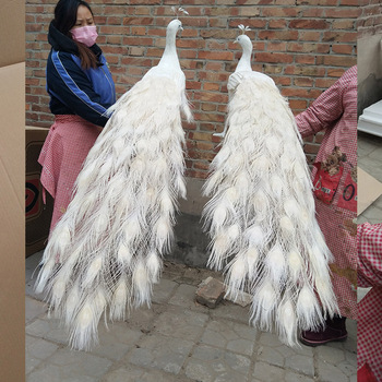 large 150cm simulation bird white feathers peacock hard model loves one pair home garden,party decoration gift s2237