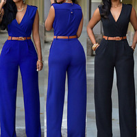 Women Sleeveless V Neck High Waist Wide Leg Romper Pants Jumpsuit With Belt