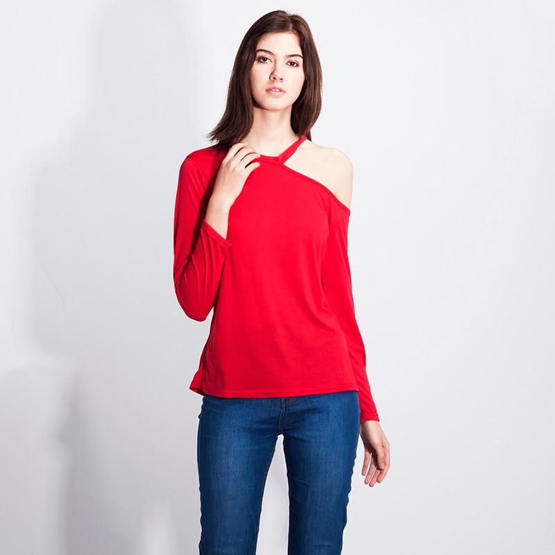 Fashion Women Sexy Irregular Collar T-shirt Off-the-shoulder Long-sleeved Female Tshirt Spring New Style Haut streetwear