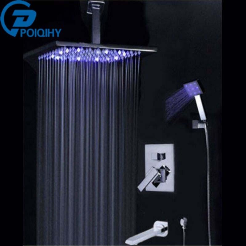 POIQIHY Promotion LED Color Changing 8 / 10 / 12/ 16 Rain Bathroom Shower Faucet Bathtub Mixer Hand Shower Tap poiqihy chrome rain