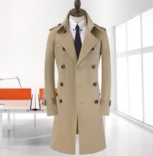 Korean men's trench coat brand-clothing plus size spring autumn men long coat new business khaki Double-breasted windbreaker 9XL все цены