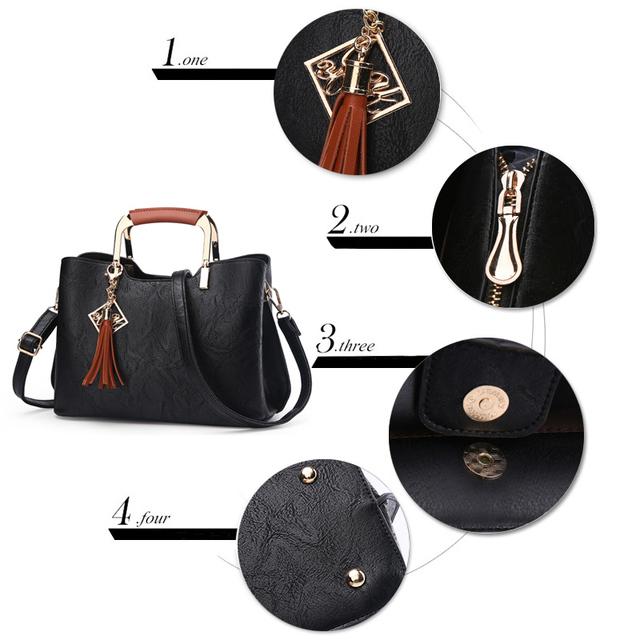 Nevenka Brand Design Women Luxury Handbags Female Tassel Sequined Messenger Bag Quality Leather Tote Solid Zipper Evening Bags