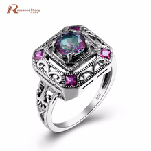Elegant Multicolor Rainbow Mystic CZ Vitnage Jewelry 925 Sterling Silver Women's Fashion Ring Size 5-10 Vintage Turkish Jewelry