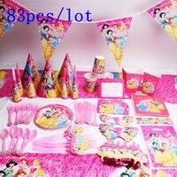 Disney шесть Принцесса Белль тема дизайн 83 шт./лот одноразовая посуда, наборы для девочек Тема дня рождения вечерние украшения питания