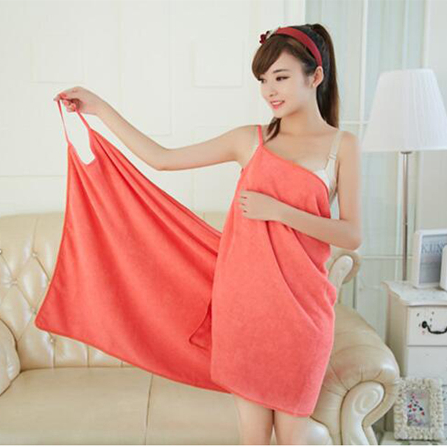 Sexy V Neck Women Bath Towel Soft Wearable Beach Towel Super Absorbent Green Bath Gown 150x70cm Many Colors Free Shipping