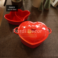 Valentine S Day Red Heart Shape Pot Baking Bowl With Lid Microwave Soup Bowl Seasoning Deart